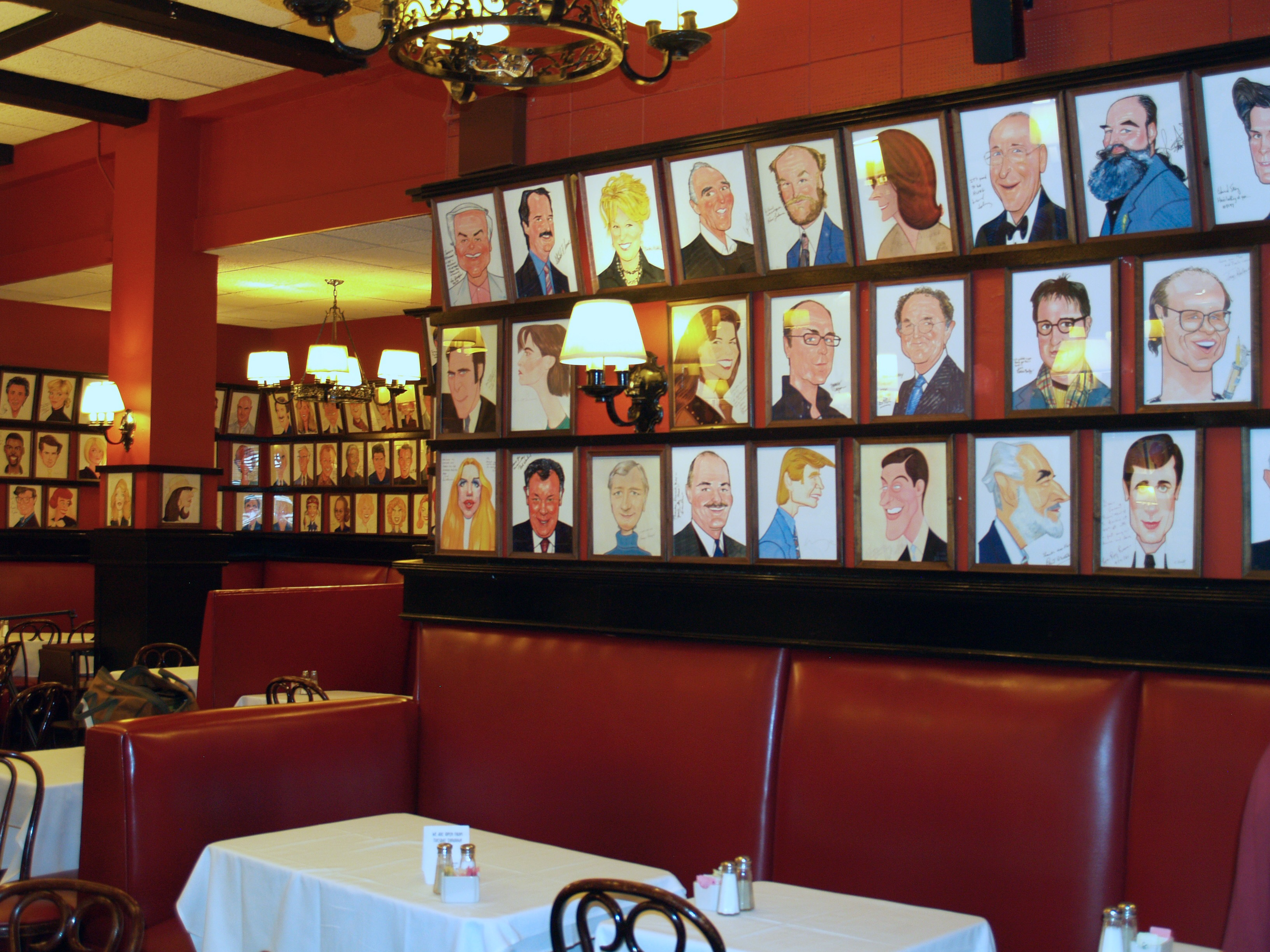An interior photo of Sardi's Restaurant in New York City.