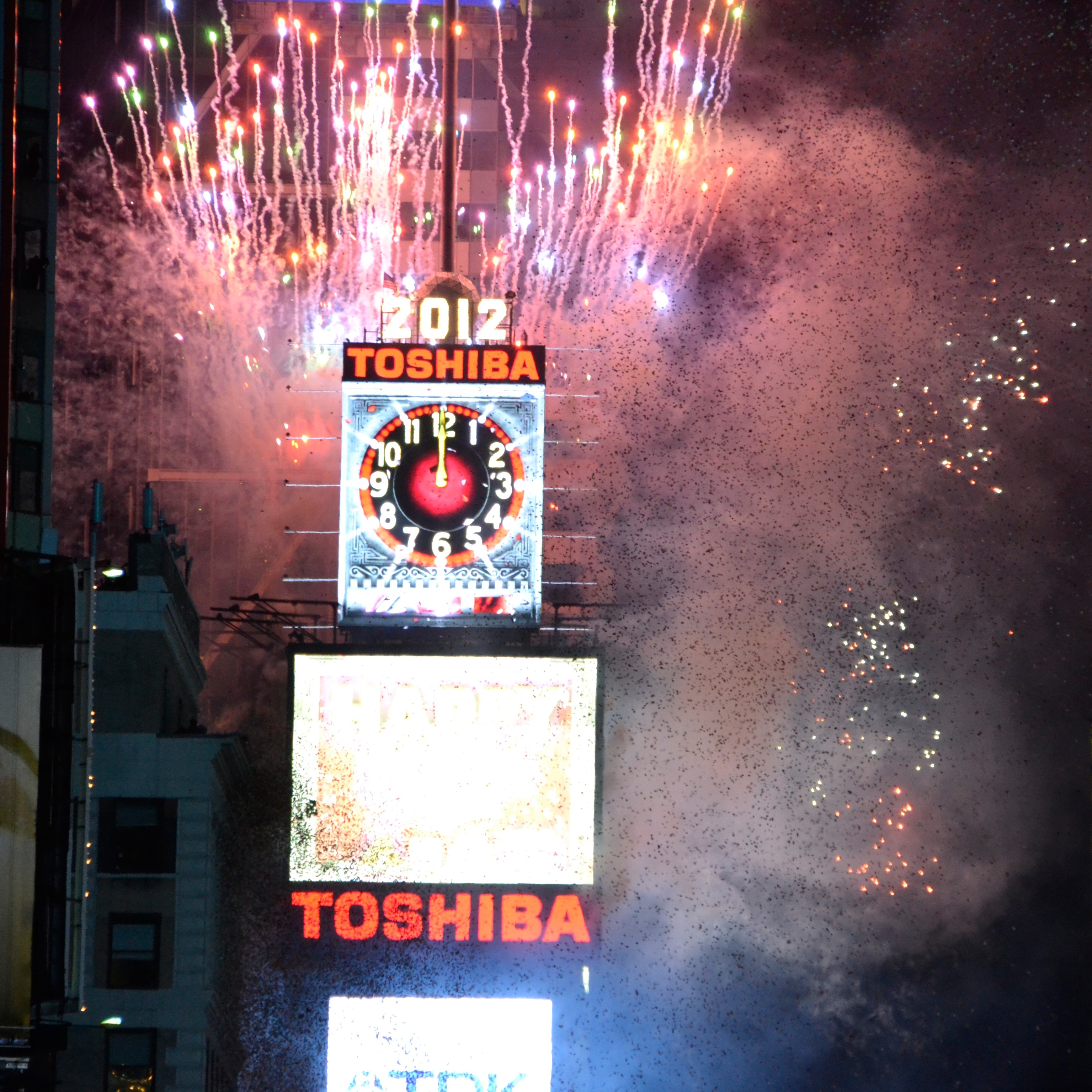 The New Years Eve Ball drop in Times Square from 2012.