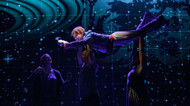 Mercedes Herrero, Alex Sharp, Richard Hollis, and Jocelyn Bioh in <i>The Curious Incident of the Dog in the Night-Time</i>. Photo by Joan Marcus.