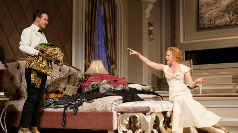 Micah Stock and Katie Finneran in <i>It's Only a Play</i>. Photo by Joan Marcus.