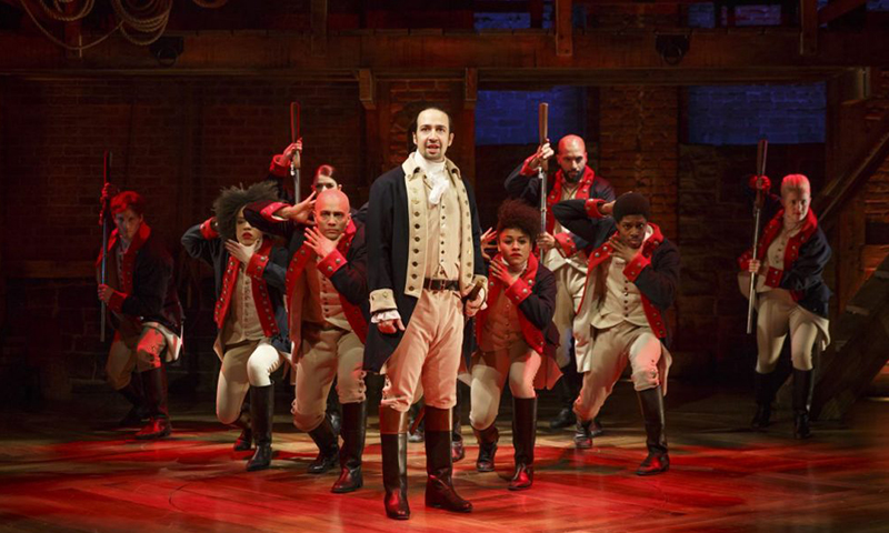 Lin-Manuel Miranda and the cast of Hamilton.