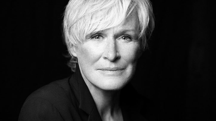 A black and white photo of Glenn Close