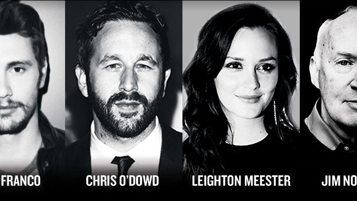 The Broadway cast of Of Mice and Men from Left to Right: James Franco, Chris O'Dowd, Leighton Meester, and Jim Norton