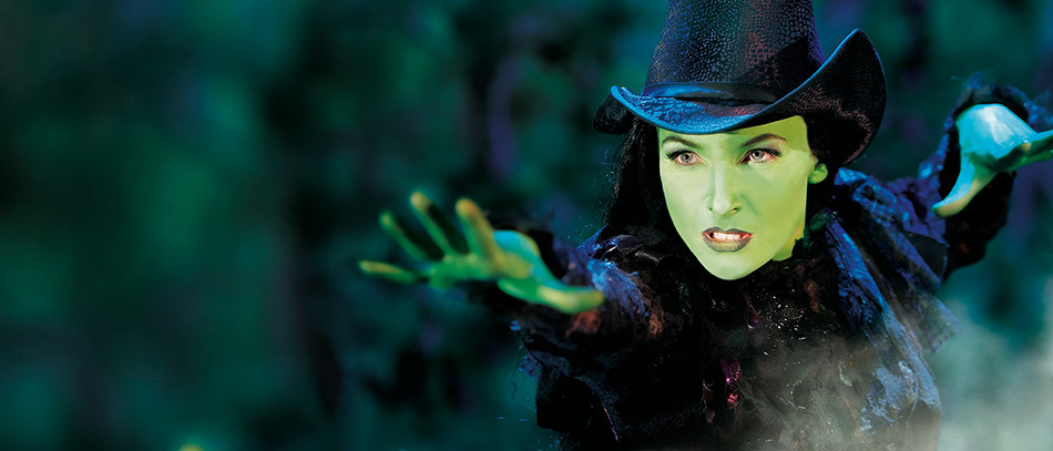 Elphaba casting a spell in Wicked on Broadway