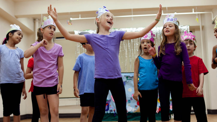 Students participating in Camp Broadway