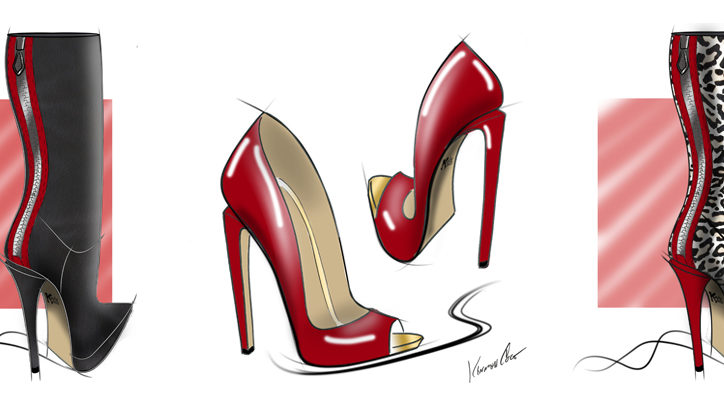 Shoe designs for Kinky Boots on Broadway