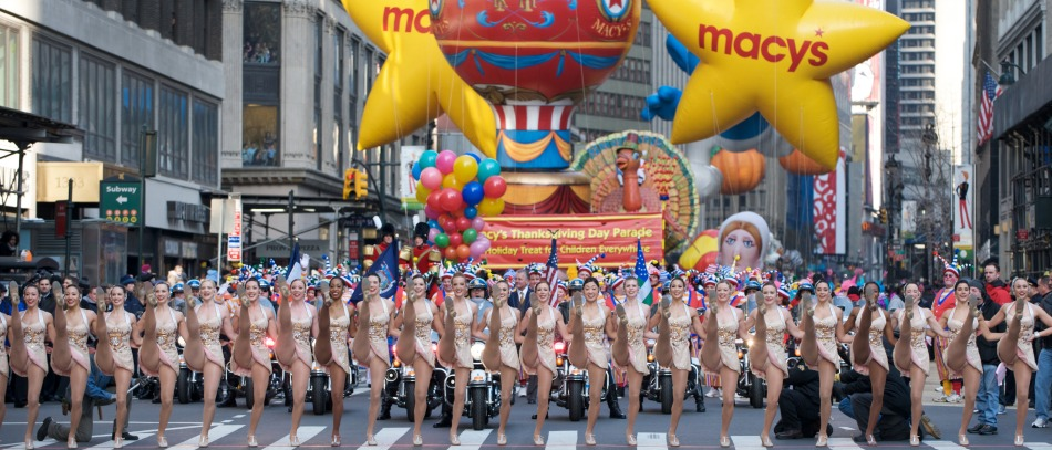 The Rockettes performing at the Macy's Thanksgiving Day Parade