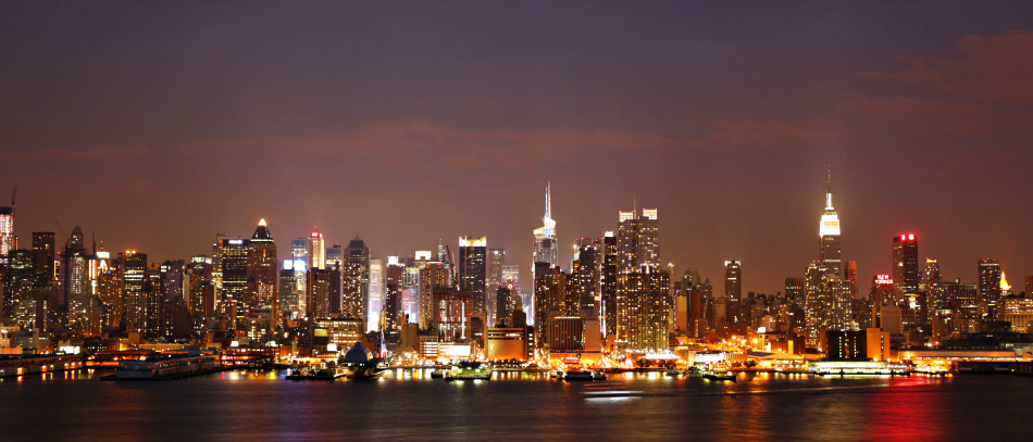A photo of the New York City skyline at night