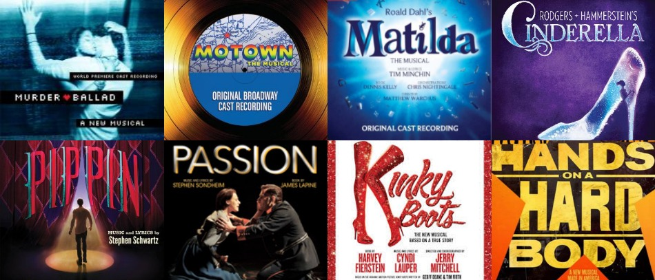 The album covers for Broadway musicals, including Kinky Boots