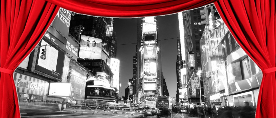 A red curtain revealing Times Square in black and white