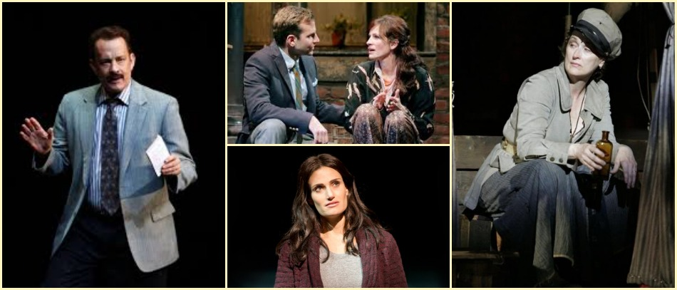 Oscar nominated and winning stars performing on Broadway from Left to Right: Tom Hanks, Julia Roberts, Idina Menzel, and Meryl Streep
