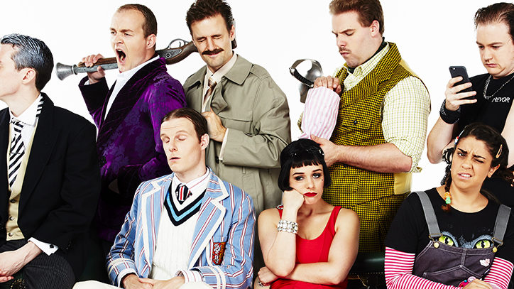 The Broadway company of The Play That Goes Wrong