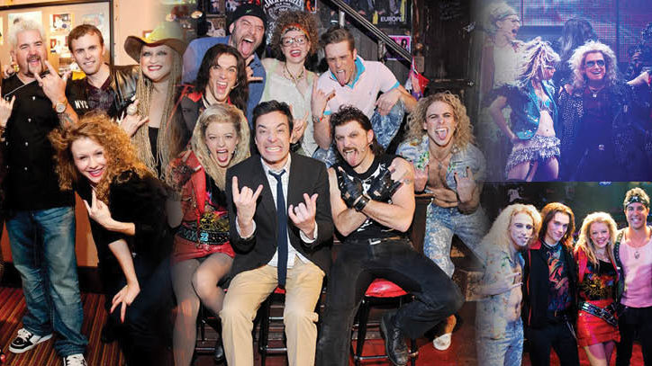 The Broadway company of Rock of Ages with celebrities Guy Fieri and Jimmy Fallon backstage