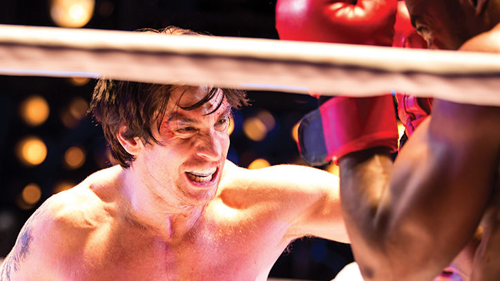 Andy Karl boxing in Rocky the musical