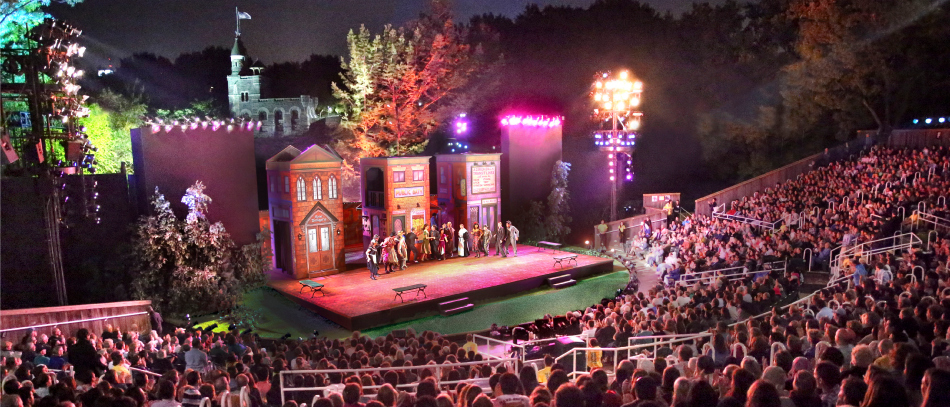 A photo of the stage at the Delacorte Theatre, used by The Public Theatre