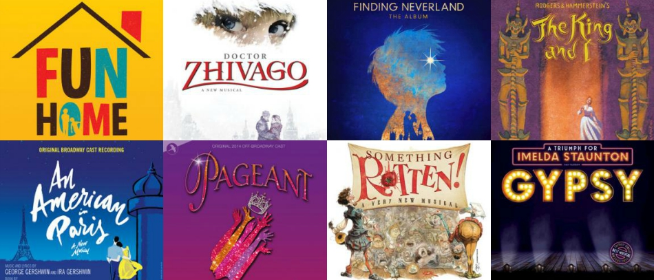 the covers of cast recordings for Broadway musicals
