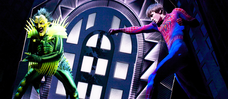 Spiderman fighting a villain in Spiderman Turn Off The Dark on Broadway