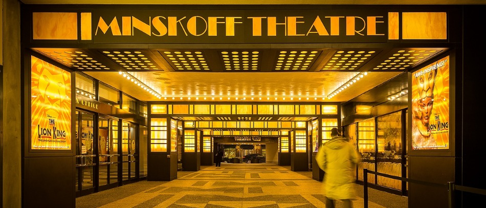 The outdoor lobby for the Minskoff Theatre