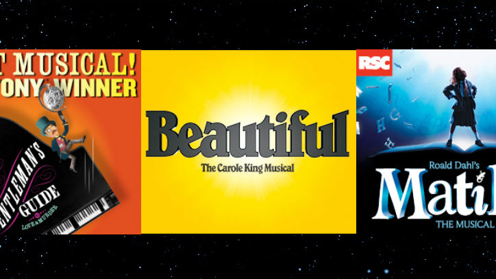 The logos for A Gentleman's Guide to Love and Murder, Beautiful the Carole King Musical, and Matilda the Musical