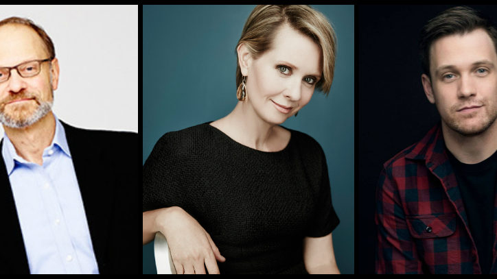 Headshots of David Hyde Pierce, Cynthia Nixon, and Micahel Arden