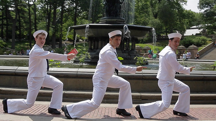 The stars of Broadway's On The Town dancing in Central Park in front of Bethesda Fountain