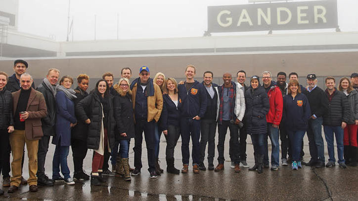 The Broadway company of Come From Away in Gander