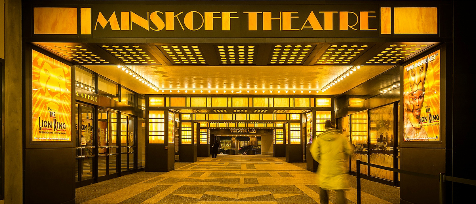 The exterior lobby for the Minskoff Theatre