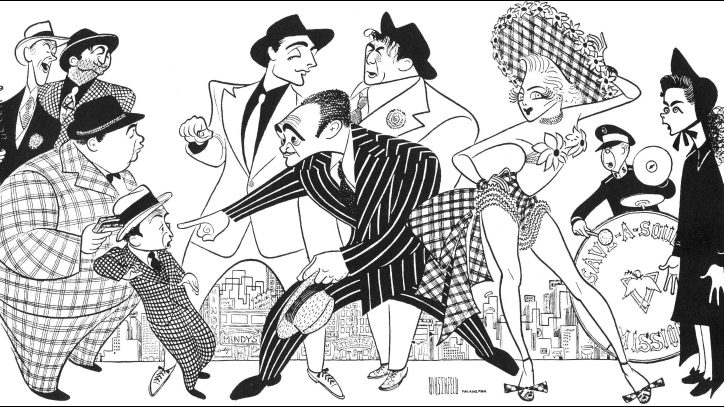 An illustration of Guys and Dolls by Al Hirschfeld