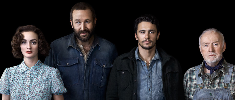 Leighton Meester, Chris O'Dowd, James Franco, and Jim Norton in the Broadway production Of Mice and Men