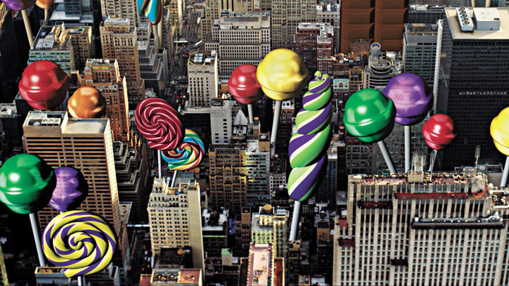 Candy sprouts up in an aerial photo of Manhattan