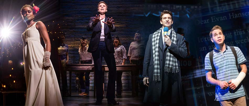 Production photos from The Great Comet, Come From Away, Groundhog Day, and Dear Evan Hansen