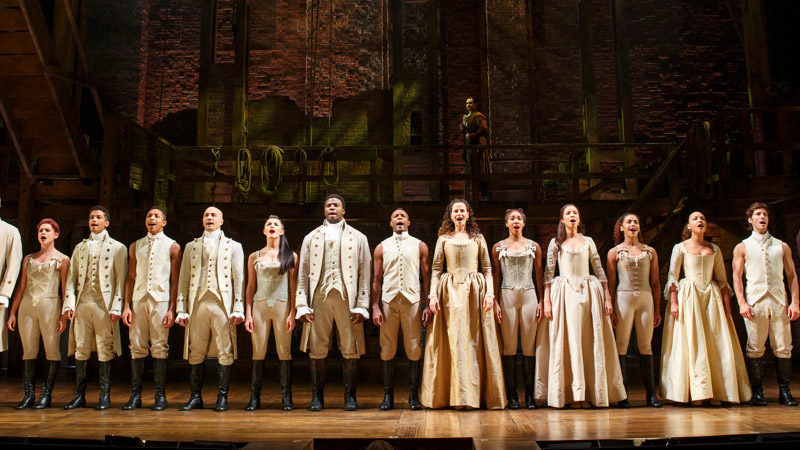 The cast of Hamilton on Broadway