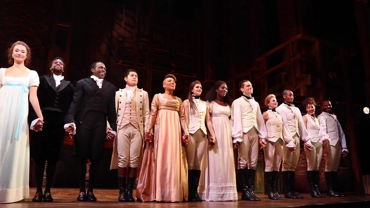 The cast of Hamilton National Tour at the Hollywood Pantages in LA