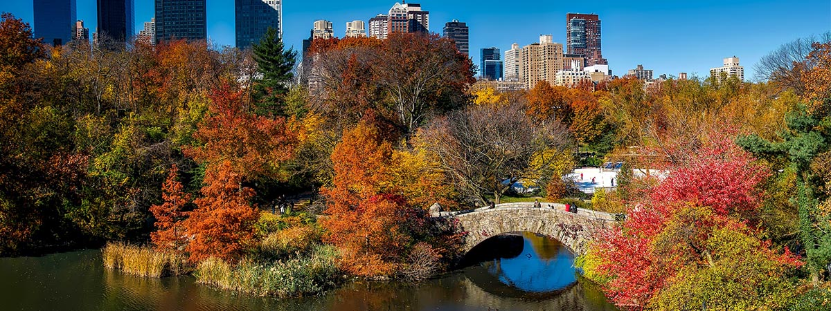 Fall in New York City. Pictured is Central Park.