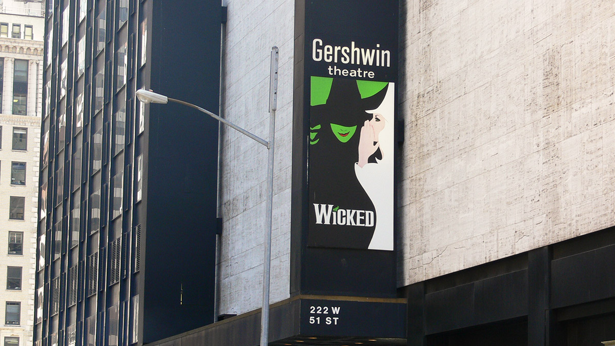 The Gershwin Theatre on Broadway, now playing Wicked the musical