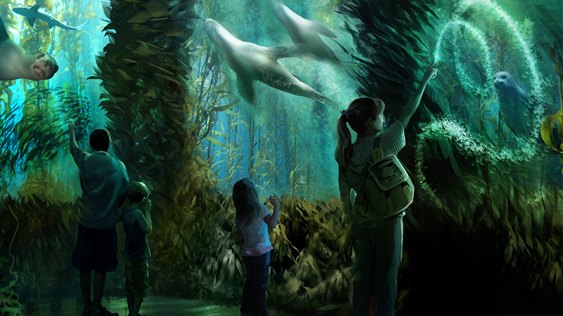 A family enjoys the new Ocean Odyssey exhibit at National Geographic encounter in NYC this Fall 2017.