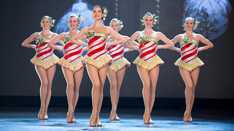 The Radio City Rockettes perform in the Christmas Spectacular in NYC in fall 2017