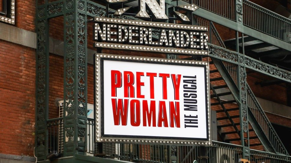 The marquee at the Nederlander Theatre, displaying Pretty Woman The Musical