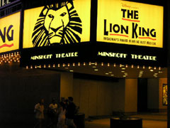 Minskoff Theatre marquee, featuring Disney's The Lion King on Broadway