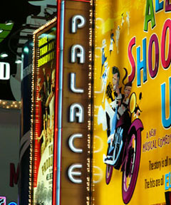 Palace Theatre marquee, featuring All Shook Up on Broadway