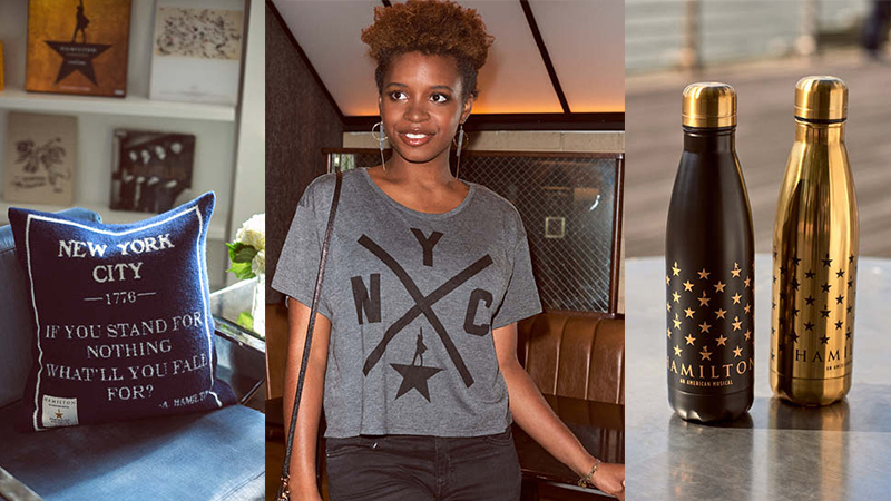 Hamilton merchandise including a pillow, t shirt, and a water bottle