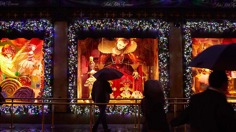 The holiday window display at Saks Fifth Avenue