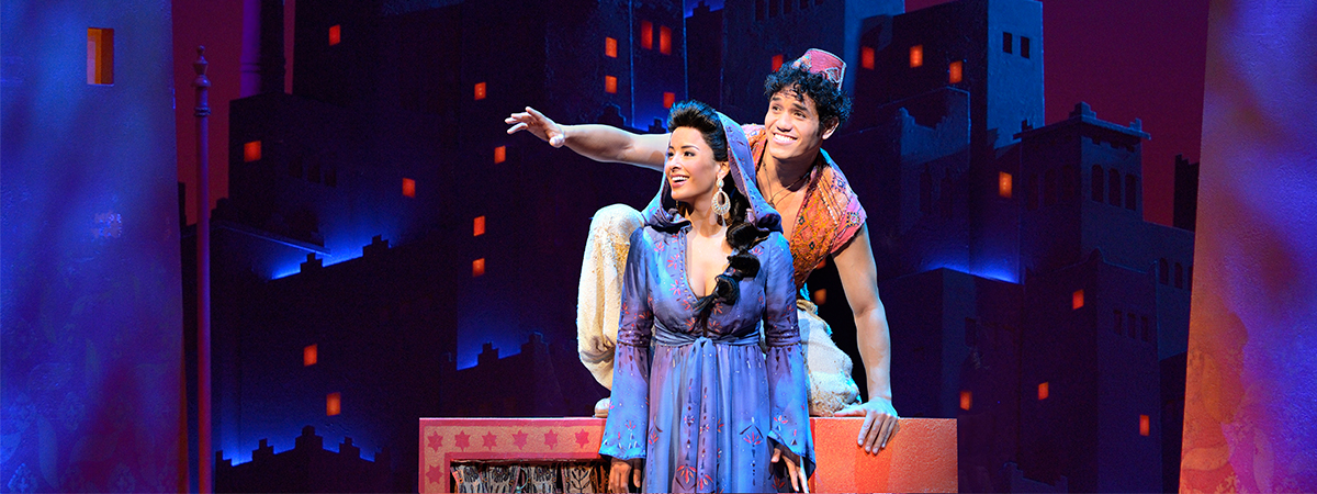 Adam Jacobs and Courtney Reed in the Broadway production of Disney's Aladdin