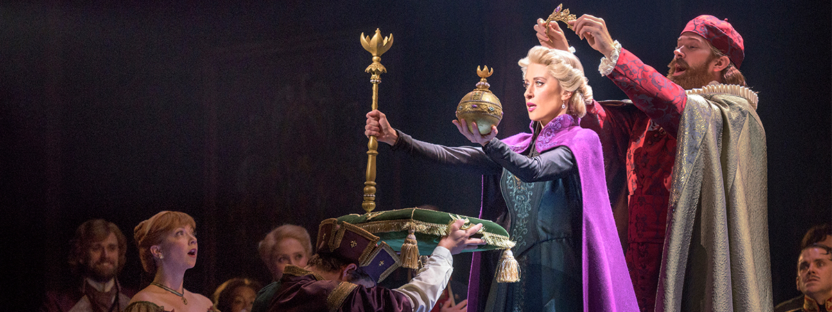 Caissie Levy in the coronation scene in the upcoming Broadway musical by Disney, Frozen