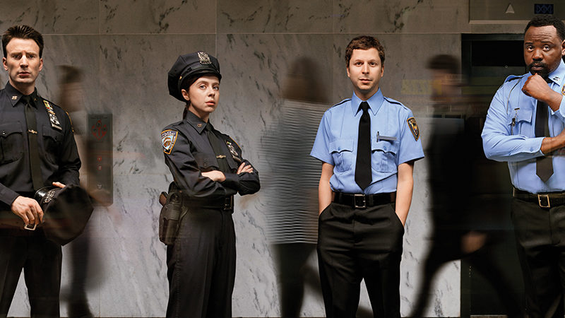 Chris Evans, Bel Powley, Michael Cera, and Brian Tyree Henry star in Lobby Hero at Second Stage Theater