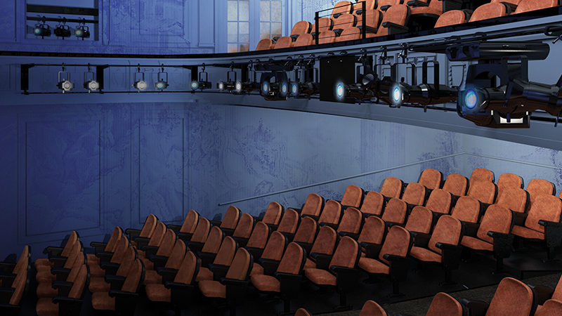 An interior rendering of Second Stage Theater's renovated Helen Hayes Theater