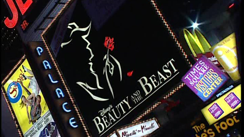 The Palace Theatre marquee for Disney's Beauty and the Beast