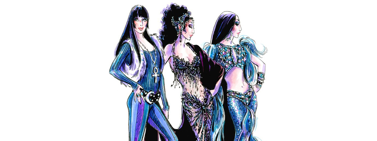 Bob Mackie renderings for The Cher Show