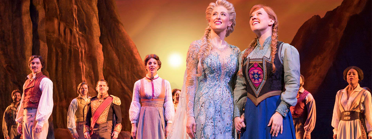 The company of Frozen the Musical on Broadway