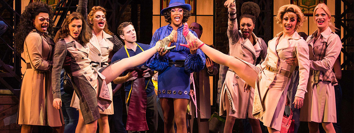 The company of Kinky Boots on Broadway